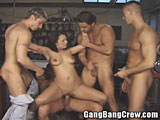 Brunette MILF Gang Bang in the Workshop